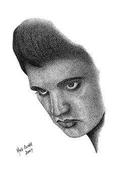 Canvas Art Print  Elvis Presley stippling portrait by OliversartNZ