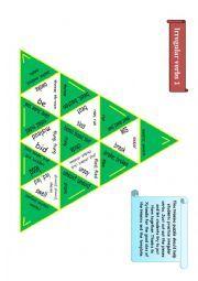 English worksheet: Trimino - Irregular verbs game (part 1)