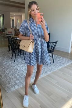 White and blue dress that I paired with white sneakers and a tan purse. Tan Purse, White Sneakers, Blue Dresses, Spring Fashion, Latest Trends, Pairs, Shirt Dress, My Style, Purses