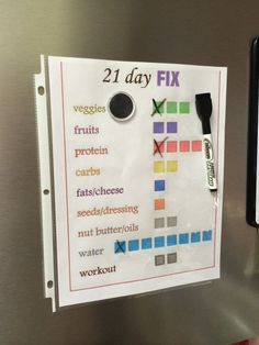 21 day fix tracking. Helpful... Also wrote the container sizes beside each colour. LS