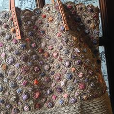 SOPHIE DIGARD HANDBAG SDHB_03 . The textures created for this bag in taupe and muted colors is exceptional.....Its all about the right yarn (waxed Linen). Not acrylic.