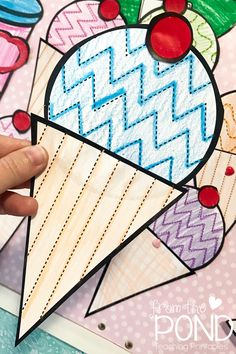 Ice Cream Craft ~ tracing lines. Solid shapes to cut and paste Ice Cream Crafts, Ice Cream Art, Ice Cream Theme, Summer Crafts For Toddlers, Toddler Crafts, Preschool Activities, School Age Crafts, Classroom Art Projects, Shape Crafts