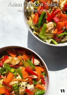 This contains: (Super Easy) Asian Chicken Salad | photo of two salads & veggies on marble countertop