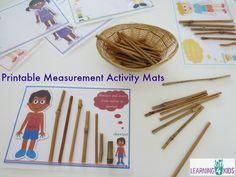 Printable Measurement Activity Mats - measuring length tallest to shortest Activity Mat, Activity Centers, Learning Centers, Math Centers, Activity Sheets, Preschool Lessons, Preschool Math, Fun Math, Measurement Activities