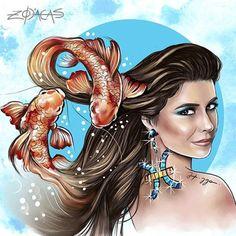 ZODIACA DE PEIXES -Ilustra inspirada na beleza brasileira de Giovanna Antonelli #zodiacas #higgocabral #atriz #atrizbrasileira #peixes
