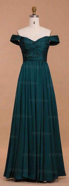 Off the shoulder dark green prom dresses long