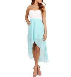 Windsor high low dress black/white and peach/mint $36
