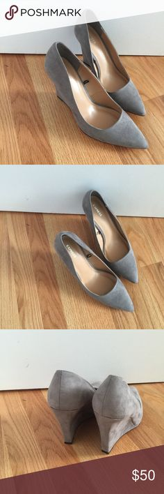 ✨SALE✨ Express gray suede wedges 3 inch wedges in a lovely neutral gray. On trend pointed toe with a suede upper and padded footbed. Brand new without box or tags. Loved them but were just a tad small! Express Shoes Wedges
