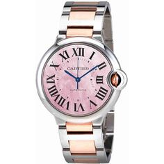 Cartier Ballon Bleu Pink Mother of Pearl  Dial Ladies Watch (141,015 MXN) ❤ liked on Polyvore featuring jewelry, watches, stainless steel jewellery, analog wrist watch, dial watches, pink jewelry and pink dial watches