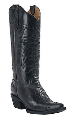 Corral Circle G Women's Black with Black Cross Embroidery Snip Toe Western Boots | Cavender's