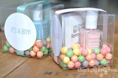 Baby shower favors! Pick a pink or blue nail polish, depending on the baby's gender, and place in a see through favor box with ribbon and a nice stick-on label.