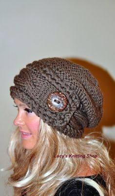 Slouchy Hat Women Slouchy Beanie Women Cable Button Hat Winter Hat Choose Color Taupe Brown Milk Chocolate Fall Chunky Christmas Gift – The Best Ideas Slouch Beanie, Slouchy Hat, Loom Knitting Projects, Knitting Patterns, Hat Patterns, Knitted Hats, Crochet Hats, Crocheted Headbands, Loom Knit Hat