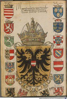 Coat of arms of Maximilian I, Holy Roman Emperor. Army Ranks, Double Headed Eagle, Medieval Paintings, Arm Art, Old Portraits, Holy Roman Empire, Black History Facts, Chivalry, Knights Templar