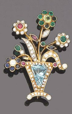 A gem-set and diamond brooch Designed as a vase of flowers, the vase centrally-set with a cut-cornered triangular-cut aquamarine, within a brilliant-cut diamond and circular cut ruby surround, the four flowers set with vari-cut sapphires, rubies, emeralds, peridots and diamonds