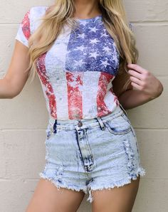 Sexy American USA Flag Distressed Burnt out Festival Patriotic T-shirt top New #Jadedstylescom #KnitTop #Casual