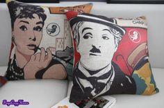 Charles Chaplin, Audrey Hepburn,Throw pillow/Pillow cover/Decorative throw pillow/Throw cushion/Decorative pillow cover/scatter cushion