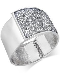 INC International Concepts Gold-Tone Glittery Wide Hinged Bangle Bracelet, Only at BrandCruz