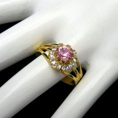 Pink Solitaire Vintage Cocktail Ring Oval by #MyClassicJewelry - Beautiful color for spring! Visit us on #Etsy today: https://www.etsy.com/shop/MyClassicJewelry