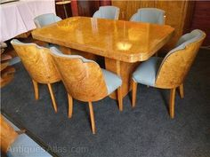Stunning Hille/Epstein Art Deco Birdseye maple dining table and Victorian Dining Tables, Table And Chairs, Dining Chairs, Dining Suites, Mahogany Dining Table, Birdseye Maple, Art Deco Furniture, Art Deco Design, Home Decor