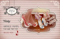 Second Life Mesh Vintage Retro 1950s Fashion Shoes for Slink @ irrie's Dollhouse  http://irriesdollhouse.tk