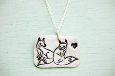 silver FOX NECKLACE by boygirlparty - original fox pendant - sterling silver fox jewelry - animal necklace. $47.50, via Etsy.