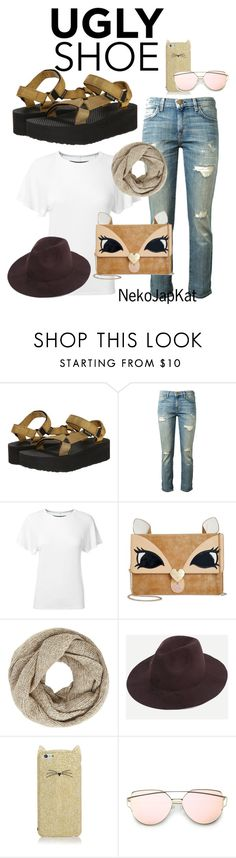 """""""Untitled #2460"""" by neko-m-tucker-smith ❤ liked on Polyvore featuring Teva, Current/Elliott, Enza Costa, Betsey Johnson, John Lewis and Kate Spade"""