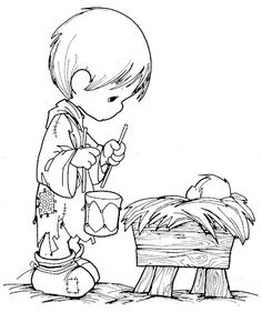 Fun Coloring Pages: boy with a drum Precious Moments coloring pages