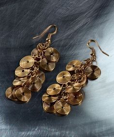 Love this Brass Spiral Cluster Drop Earrings on #zulily! #zulilyfinds