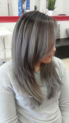 Hair Highlights For Red Hair Hair Color And Cut, Haircut And Color, Ombre Hair Color, Grey Ombre, Color Streaks, Charcoal Hair, Long Gray Hair, Dark Hair With Highlights, Brunette Hair