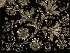 Polish Embroidery made silver metal thread