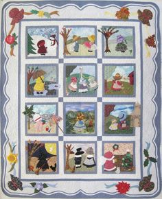 "SUNBONNET SUE, 65"" × 81"", by Shirley Brabson. Quilted by Lynne Horpedahl, Late Night Quilts. Pattern: Sunbonnet Sue All Through The Year by Sue Linker, Martingale, 1994"