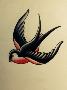 Traditional Bear Tattoo, Traditional Swallow Tattoo, Traditional Tattoo Old School, Retro Tattoos, Old Tattoos, Sleeve Tattoos, Swallow Tattoo Design, Swallow Bird Tattoos, Old School Tattoo Designs