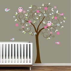 Children Vinyl Wall Decals Nursery Tree Decal with Flowers Birds Owl