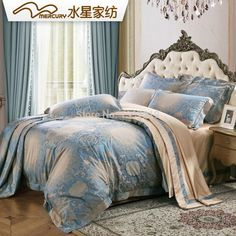 Free shipping!Mercury Home Textile Royal Orchid 100% silk jacquard bedding set with 4 pcs bed sheet duvet cover