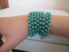 extra long  turquoise glass necklace 190 czech turquoise par iomiss, $33,00
