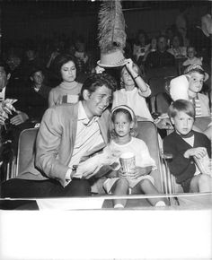 Vintage photo of Michael Landon with his two children Leslie, 3 and Josh, 6.