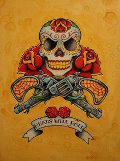 Traditional. Skull. Roses. Guns.