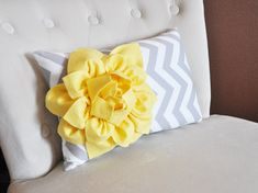 Decorative Lumbar Pillow Yellow Dahlia on Gray and White Zig Zag Chevron Lumbar Pillow 9 x 16 on Etsy, $33.00
