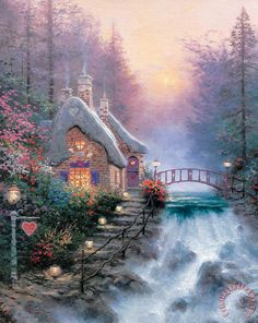 Sweetheart Cottage Ii Painting by Thomas Kinkade