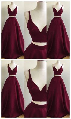 Two Pieces Long Prom Dress ,Fashion Evening Gown Dress by Ivoweddingdress, $111.62 USD V Neck Prom Dresses, Girls Formal Dresses, Grad Dresses, Elegant Dresses, Long Dresses, Burgundy Prom Dresses, Dresses Dresses, Burgundy Gown, Dresses Online