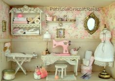 Shabby chic miniature dollhouse dressform terry o 39 quinn - Cuadros shabby chic ...