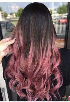 Pretty Hair Color, Beautiful Hair Color, Hair Color Pink, Hair Dye Colors, Hair Color And Cut, Pink Hair, Brown Hair Pink Ends, Dip Dyed Hair Brown, Dip Dye Hair Brunette