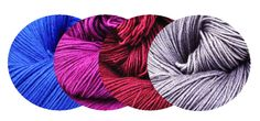 Sugared Plums - Colour Palette - Merino Silk Sport - Colourways; Tres Chic, True Love, Mystic Purple, Electric Blue. Skein Yarns