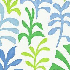 Schumacher Ode to Matisse Leaf / Ocean Fabric