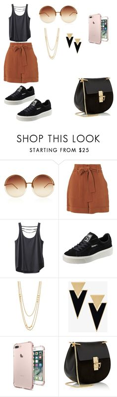 """Sem título #2"" by marcelly-bonin-montan ❤ liked on Polyvore featuring Linda Farrow, Whistles, Kavu, Puma, Gorjana, Yves Saint Laurent and Chloé"
