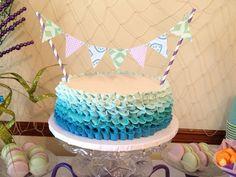 Ombre Ruffle Cake with Bunting #ruffle #cake