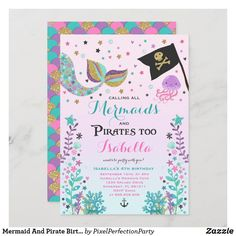 Pirate Birthday Invitations, Mermaid Invitations, Custom Invitations, Invites, Girl 2nd Birthday, Mermaid Birthday, Birthday Thank You Cards, Birthday Greeting Cards, Under The Sea Party
