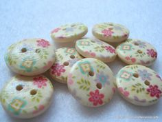 15mm Wood Buttons With Shabby Patchwork Flower by berrynicecrafts, £1.25