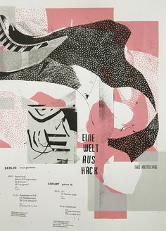 Palefroi - Eine welt aus hack - Thee ausstellung Screen printed poster 50 x 70 cm 3 colors Edition of 45 Nov. Collage Illustration, Graphic Illustration, Illustrations Posters, Gfx Design, Layout Design, Design Art, Graphic Design Typography, Graphic Art, Design Graphique