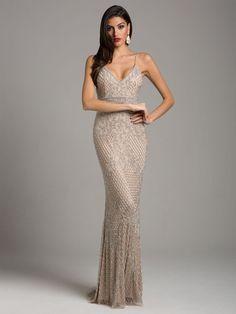Lara Dresses - 29904 Beaded Plunging V-neck Fitted Dress Gala Dresses, Dressy Dresses, Dress Outfits, Sparkly Dresses, Club Dresses, Wedding Dresses, Beaded Prom Dress, Beaded Gown, Beaded Fringe Dress